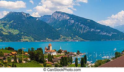 Aerial view of Monteux at Geneva lake