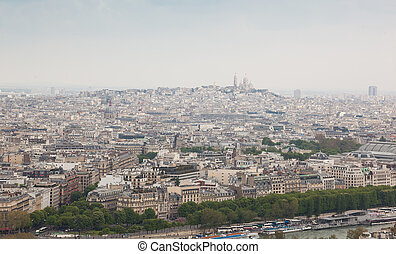 Aerial View of Montmartre Hill fron Eiffel tower - Aerial...