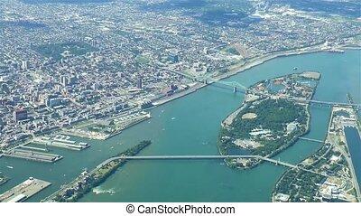 Unique aerial footage of Montreal, Canada. St Lawrence River, Nun's Island, La Ronde, Port.