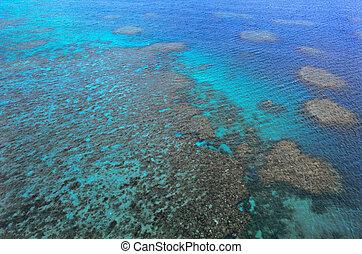 Aerial view of Moore coral reefs Cairns - Great Barrier Reef Queensland Australia