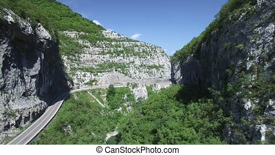 Aerial view of Moraca river canyon.