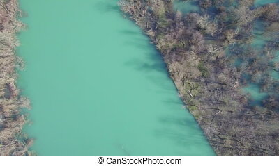 Aerial view of Moraca river which flows into beauty big Skadar lake