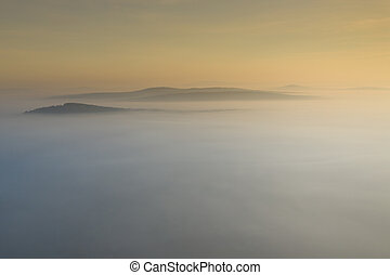 Aerial view of morning fog and sunrise in autumn