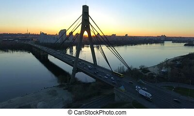 aerial view of Moscow Bridge over Dnieper river. Kyiv, Ukraine.