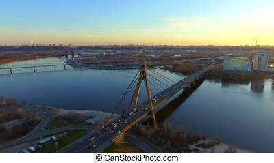 aerial view of Moscow Bridge over Dnieper river. Kyiv, Ukraine.