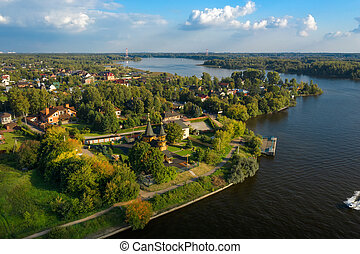 Aerial view of Moscow Canal and surroundings on a summer day