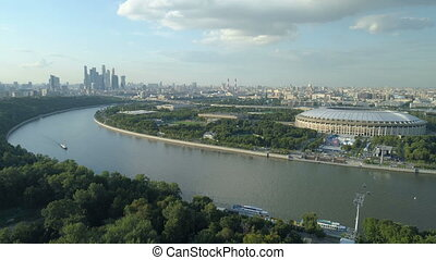 aerial view of moscow river cityscape and stadium, Russia