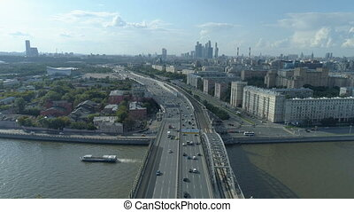 aerial view of Moskva River and third transport ring road in...