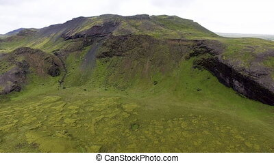 Aerial view of mossy lava field in Iceland, Europe.