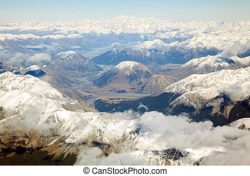 Mount Cook - Aerial view of Mount Cook with southern...