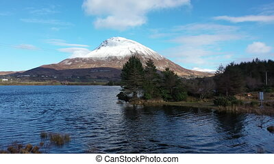 Aerial view of Mount Errigal, the highest mountain in Donegal - Ireland