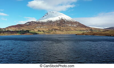 Aerial view of Mount Errigal, the highest mountain in Donegal - Ireland.