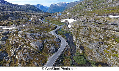 Aerial view of mountain and road to Dalsnibba, spring landscape, Norway