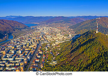 Aerial view of mountain city in autumn