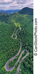 Aerial view of mountain pass road