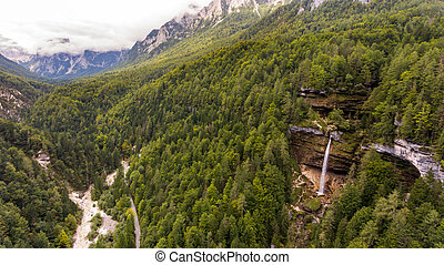 Aerial view of mountain valley with double water fall.