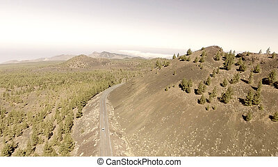 Aerial view of mountain windy road