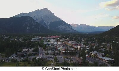 Aerial view of mountainous Banff, Alberta, Canada - Aerial...