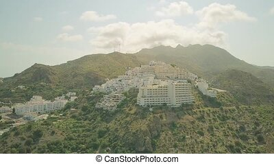 Aerial view of mountainous small Spanish town in Andalusia -...