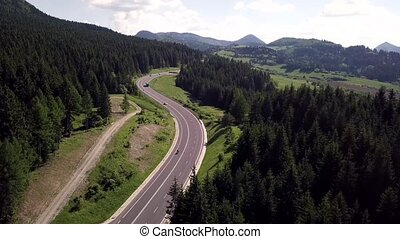 Aerial view of mountains asphalt road in the Slovak Tatras