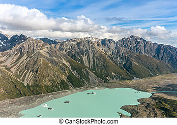 Aerial view of mountains in New Zealand.