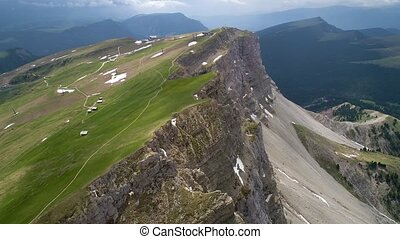 aerial view of mountains landscape near Seceda view point -...