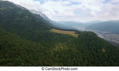 Aerial view of mountains landscape town valley scenery