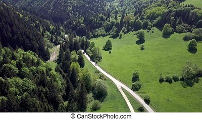 Aerial view of mountains road in the Slovak Tatras