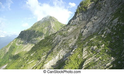Aerial view of mountains with green forest, trees, jungle...