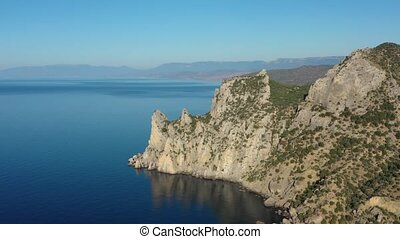 Aerial view of moutains rocks and sea in Crimea