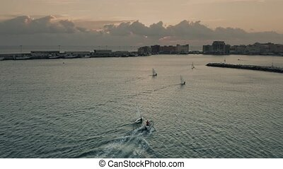 Aerial view of moving small sailboats near Anzio in the evening, Italy
