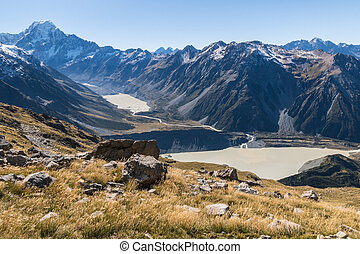 aerial view of Mt Cook with Hooker Lake and Mueller Lake in Mount Cook National Park, New Zealand