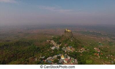 Aerial View of Mt. Popa, Bagan, Myanmar (Burma) - Wide...