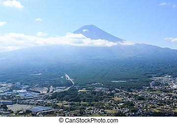 Aerial view of Mt.Fuji ,Japan.