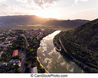 Aerial view of Mtskheta, Georgia.