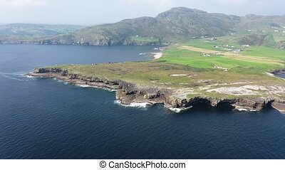 Aerial view of Muckross Head during the summer - A small peninsula west of Killybegs, County Donegal, Ireland.