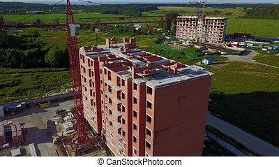 Aerial view of multi-storey building construction