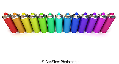 Aluminum spray cans in differently colors