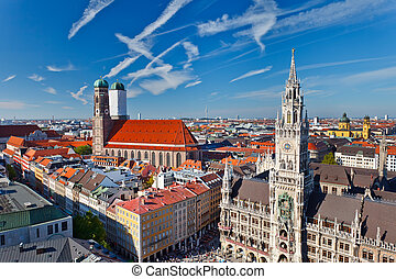 Aerial view of Munchen: Marienplatz, New Town Hall and...