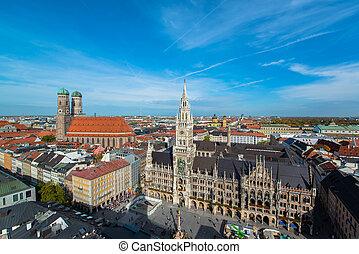 Aerial view of Munchen Marienplatz,