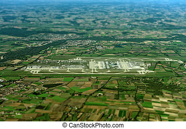 Aerial view of Munich Airport, Germany.