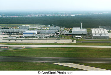 Aerial view of Munich airport in Germany.