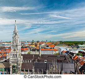 Aerial view of Munich, Germany - View of Munich:...