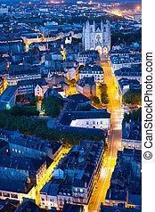 Aerial view of Nantes city at night