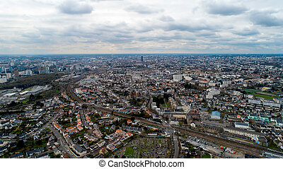 Aerial view of Nantes city on a cloudy day, France