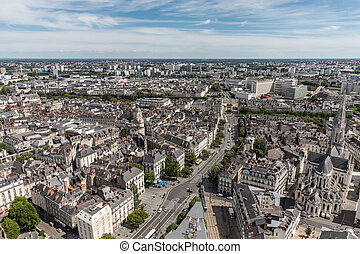 Aerial view of Nantes downtown from the terrace of the ...