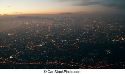 Aerial view of Naples at night, Italy
