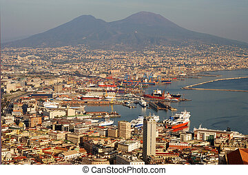Naples city with Mount Vesuvius - Aerial view of Naples city...