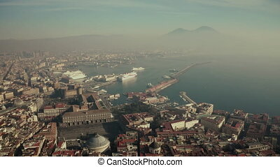 Aerial view of Naples seafront area and famous Mount Vesuvius