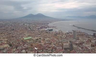 Aerial view of Naples, video shot on a drone. Flight of a drone over Naples overlooking the bay and Mount Vesuvius.
